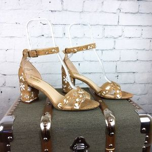 Coach and Four Laser Cut Cork Strappy Heels 9.5